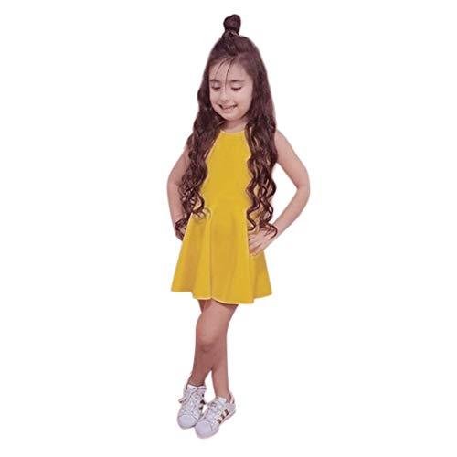 Livoral Mädchen rückenfrei Prinzessin Kleid Kleinkind Kind Baby ärmellose Feste Schleife Kleid(Gelb,130)