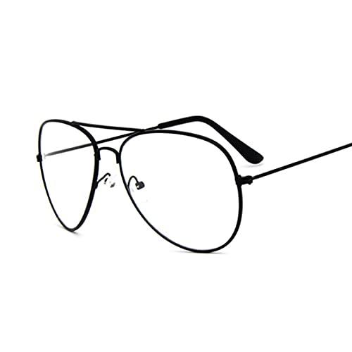 ShZyywrl Gafas De Sol Monturas De Gafas para Mujer Montura De Gafas De Metal Lente Transparente Gafas Negro Plata Oro Ojo De Cristal Negro