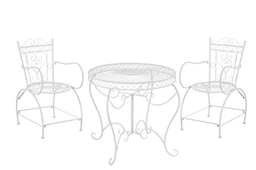 CLP Set Giardino Rustico Sheela in Ferro con Tavolo (Ø 76 CM) + 2 Sedie, Colore:Bianco