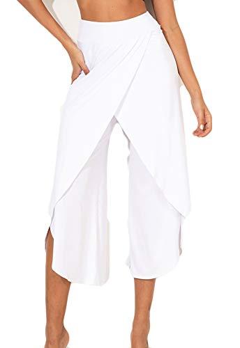 FITTOO Pantalones De Yoga Sueltos Cintura Alta Mujer Pantalones Largos Deportivos Suaves y Cómodos1080#4 Blanco M