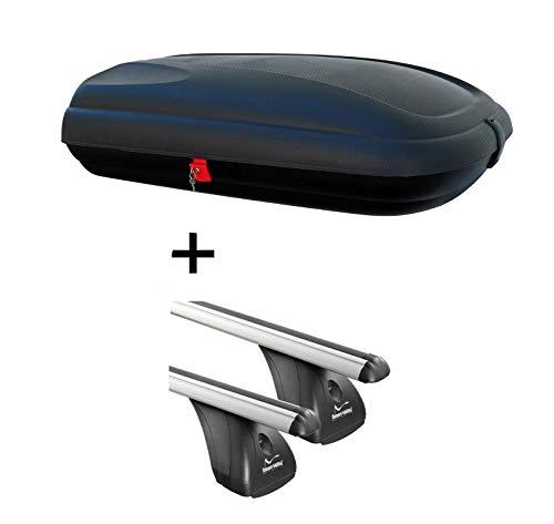 Dachbox VDPBA320 320Ltr carbonlook abschließbar + Aluminium Dachträger Aurilis Original kompatibel mit Nissan Juke (5Türer) ab 2010