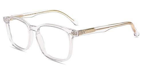 Firmoo Blaulichtfilter Brille ohne Sehstärke Entspiegelt für Damen Herren, Eckige Blaulicht Computerbrille gegen Kopfschmerzen, Eckige Augenschutzbrille Blaufilter UV Schutzbrille Transparent