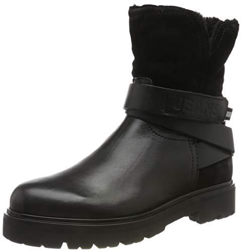 Tommy Hilfiger Damen Reflective Detail Biker Boot Stiefeletten, Schwarz (Black 990), 40 EU