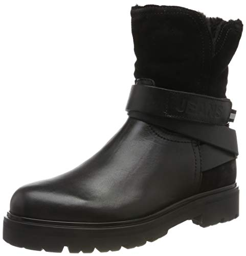 Tommy Hilfiger Damen Reflective Detail Biker Boot Stiefeletten, Schwarz (Black 990), 38 EU