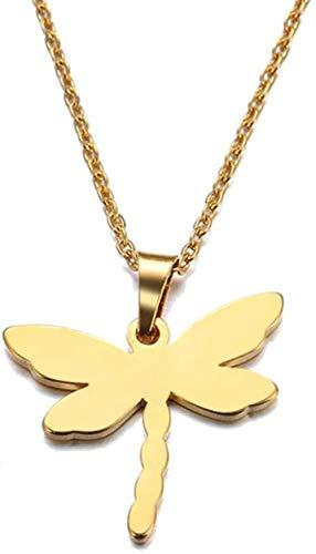NC110 Collar de Acero Inoxidable Collar con Colgante de libélula Tamaño de la joyería 45cm YUAHAOJIGE8