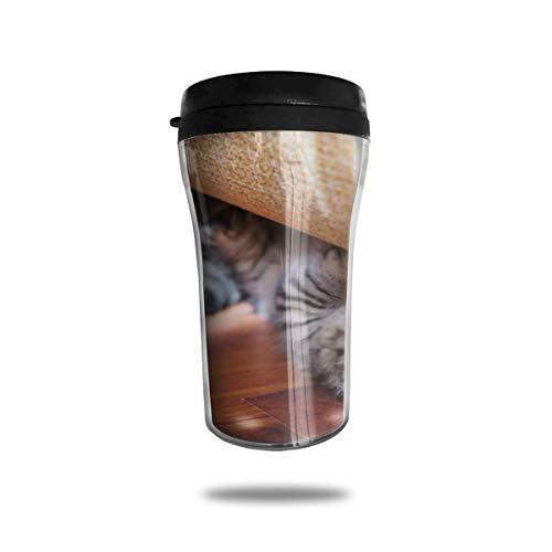 OUYouDeFangA - Taza de café con diseño de gato escondido debajo de la cama con impresión 3D portátil al vacío, taza de té, vasos de agua aislados para beber con tapa, 250 ml