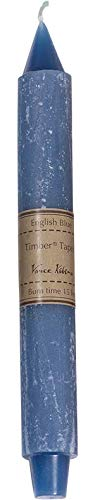 English Blue Wide Timber Taper Candle