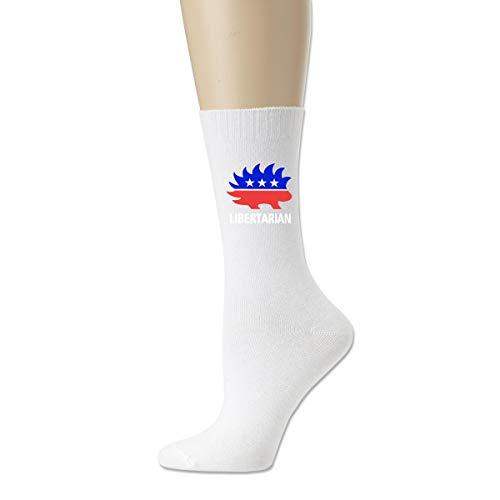 Libertarian Porcupine calcetines de compresión transpirables atléticos novedad calcetines Blanco blanco Talla única