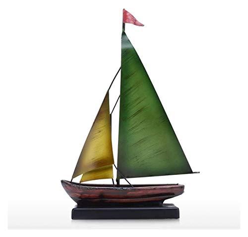 WQQLQX Statue Schmiedeeisen Segelboot Skulptur Handwerk Kunst Statue Home Decoration Dekoration Home Office Desktop Bücherregal Anzeige Dekoration Zubehör Skulpturen
