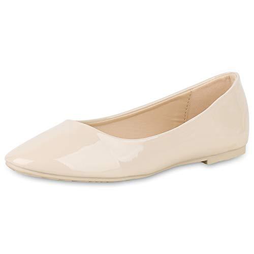 SCARPE VITA Damen Klassische Ballerinas Elegante Slip On Schuhe Lack Slipper Flache Abendschuhe Flats Glitzer 181584 Creme Lack 40