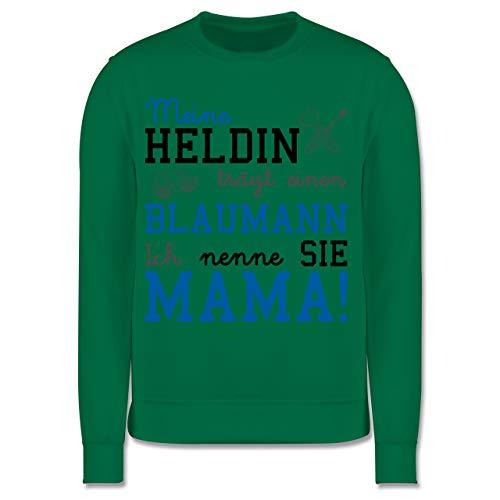 Shirtracer Sprüche Kind - Meine Heldin trägt einen Blaumann Mama - 140 (9/11 Jahre) - Grün - blaumann Kinder 128 - JH030K - Kinder Pullover