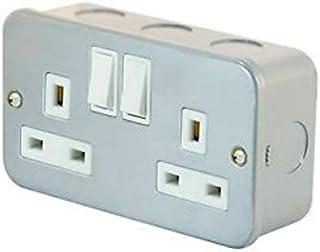 13 Amp Socket Outlet 2 Gang Switch SP con revestimiento de metal