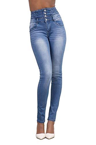 Minetom Donna Casuale Alta Vita Elastico Skinny Jeans Pantaloni Stretti Eleganti Leggings Lunghi Matita Pantaloni in Denim Pants Blu Chiaro EU S