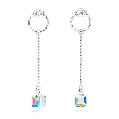 CRYSLOVE Cubic Kristall Ohrringe 925 Sterling Silber, Lange Kette Ohrringe mit Kreis Ring, Valentinstag Geburtstags Geschenke