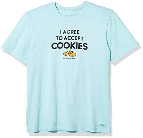 Life Is Good Herren T-Shirt Crusher, Unisex-Erwachsene Herren, Crusher T-Shirt I Accept Cookie, Cookies Strand Blau, X-Large