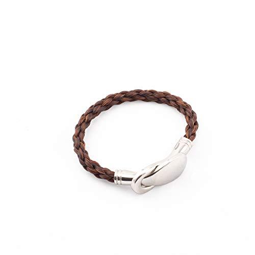 Crin De Cheval - Bracelet Equestre Pour Femme - Un Bijoux sur le theme du Cheval - Collection Jump - 20 21 cm - Tressage Rond - Marron