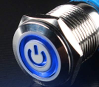 Interruptor de botón de metal de 16 mm impermeable plano circular botón de luz autobloqueo botón de auto-reinicio 1NO1NC interruptor de botón de encendido