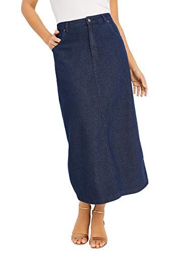 Jessica London Women's Plus Size Classic Cotton Denim Long Skirt 100% Cotton - 18, Indigo
