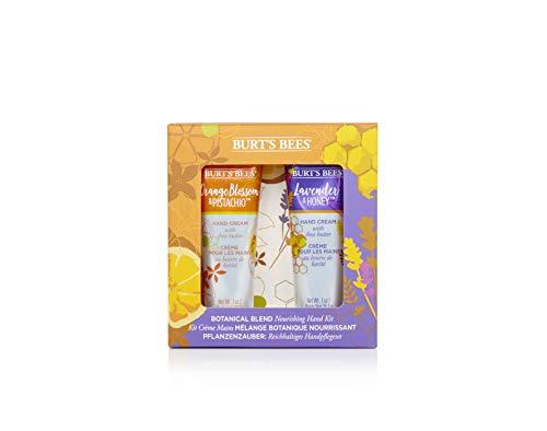 Kit para manos hidratante de 2 artículos con mezcla botánica Burt's Bees con 1 crema de manos con lavanda y miel (28,3g) y 1 crema de manos con flor de azahar y pistacho (28,3g)