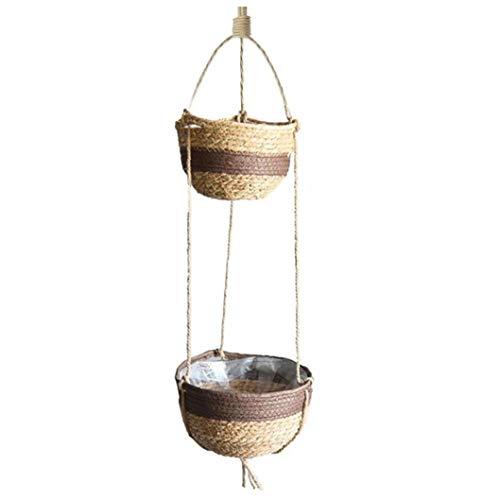 tJexePYK Hanging Planter Basket 2 Layer handgemachtes gesponnenes Blumenkorb Kunststoffmantel hängen Blumentopf Wandbehang Planter für für Indoor Garten Balkon Home Decoration