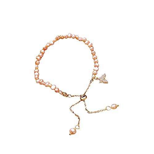 Pulsera de perlas de mariposa, pulsera de perla irregular, Pulsera de perlas cultivadas de agua dulce para mujeres adolescentes (Orange)