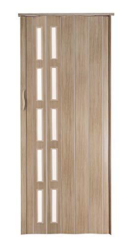 Falttür Schiebetür Sonoma Eiche hell farben Fenster Höhe 202 cm Einbaubreite bis 80 cm Doppelwandprofil Neu