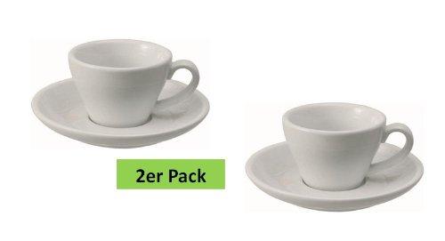 2 dickwandige Espresso-Doppio / Kaffeetassen 0,18l aus weißem Porzellan inkl. Untertasse