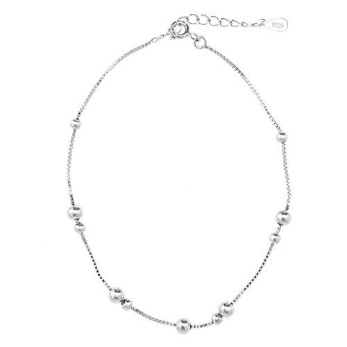 OTOTEC sterling zilveren enkelketting, 925 ketting, enkelband, 9 inch, flexibele pasvorm, verstelbaar, klassiek mode-dames, dames