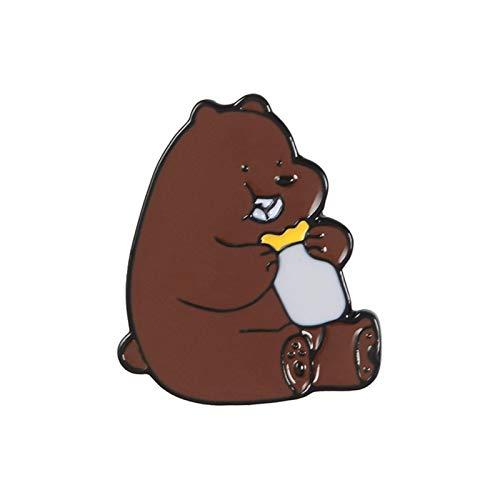 Hjdmcwd Brosche Cartoon Niedlichen Panda Metall Emaille Brosche Lustige Braun Bär Polar Bär Abzeichen Pin Petite Trendy Kinder Kleidung Rucksack Schmuck (Metallfarbe : XZ587 2)
