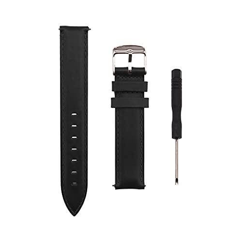 Correa de piel de repuesto para reloj de pulsera, 18 mm de ancho, compatible con Samsung Galaxy Fossil para 120-175 mm, color negro
