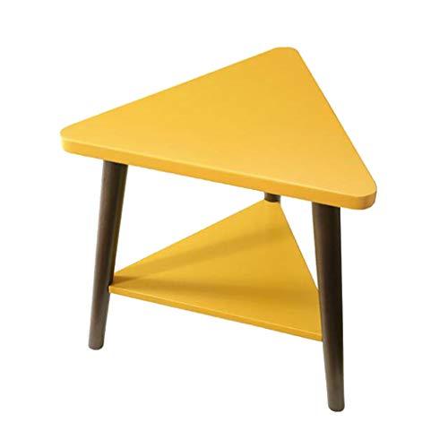 Table basse, double rack triangle créatif côté salon coin petite table basse multifonctions téléphone table canapé table latérale mobile (Color : Yellow, Size : 44 * 50 * 46cm)