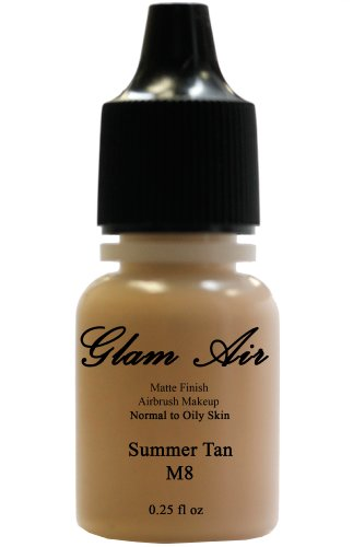 Airbrush Makeup Foundation Matte Finish M8 Summer Tan Water-based Makeup Long Lasting All Day Without Smearing Running, Fading or Caking 0.25 Oz Bottle By Glam Air by Glamair
