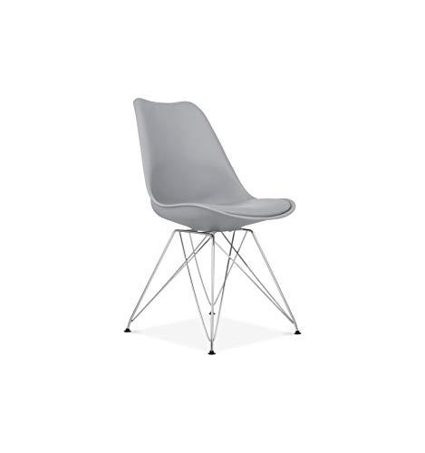 Icons Corner Pack de 2 sillas Paris Gris Oscuro de plastico Patas de Metal