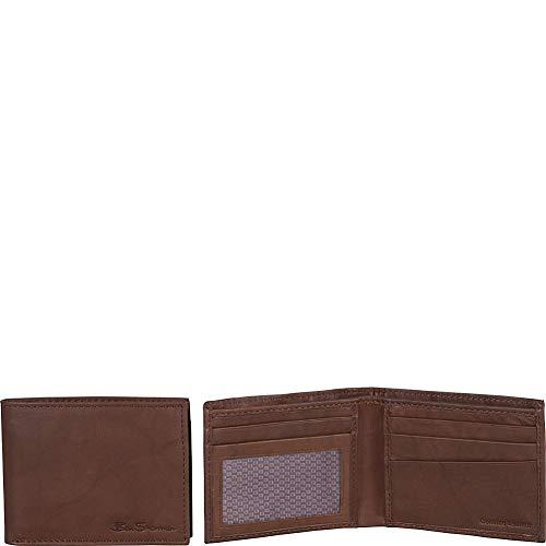 Ben Sherman Men's Manchester Bifold Full-Grain Leather RFID Minimalist Gift Box, Brown Marble Bi-Fold, Slim Wallet