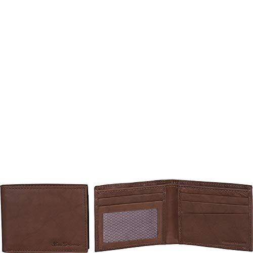 Ben Sherman Men's Slimfold Genuine Full-Grain Leather Anti-Theft RFID Security Wallet With ID Window, Marble Crunch Brown Leather, Bi-Fold Wallet
