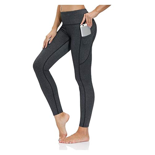CRXL shop-Mantas Eléctricas Leggings De Gimnasio para Mujer con Bolsillos Pantalón De Yoga con Control De Abdomen De Cintura Alta con Tela Suave (Color : Gray, Size : Large)
