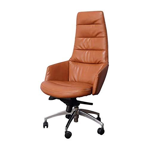 HAOSHUAI Boss Büroerzeugnisse Gaststuhl, Leder Bürostuhl Ergonomischer Stuhl Home Freizeitstuhl liegend Integrierte Rückenlehne Komfortables und weiche 360-Grad-Swivel-verstellbarer Sitz Heig