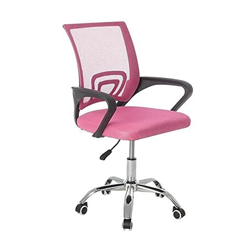 Shoze Büro Drehstuhl mit Glatten Rollen Stoff Bürostuhl Höhenverstellbarer Gepolsterter Sitz Ergonomische Passform Lifting Rosa Spielstuhl