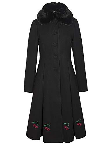 Pussy Deluxe Cherries Damen Mantel schwarz, Größe:M