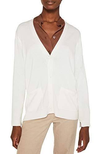 ESPRIT Damen 999Ee1I802 Strickjacke, Weiß (Off White 110), Medium (Herstellergröße:M)