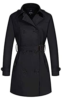 Wantdo Women s Casual Double Breasted Trench Coat Slim Fit Peacoat Black X-Small