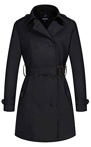 Wantdo Women's Double Breasted Peacoat Long Trench Coat with Belt Black Medium
