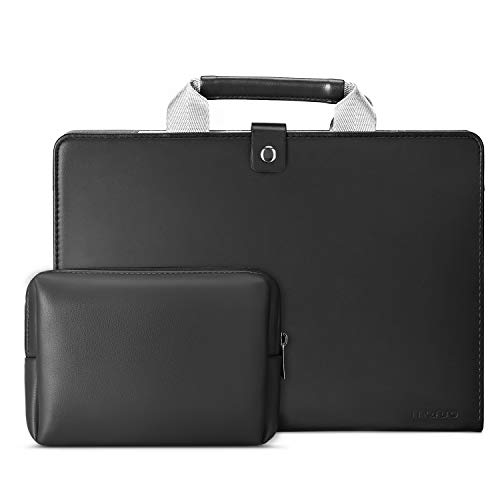 MOSISO Laptop Briefcase, Premium PU Leather Sleeve Handbag with Small Case Compatible with 2020-2018 MacBook Air 13 A2179 A1932/2020-2016 MacBook Pro 13 A2251 A2289 A2159 A1989 A1706 A1708, Black