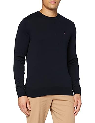 Tommy Hilfiger Core Cotton-Silk Cneck suéter, Azul (Sky Captain 403), Large para Hombre