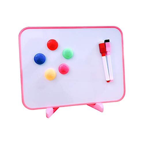 KPOON Whiteboard Kleiner Dry Erase Whiteboard Magnetic Double Sided Desktop-Whiteboard mit Standfuß Abnehmbares Whiteboard (Color : AS Shown, Size : 30x21X1cm)