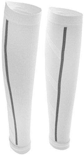 PRESKIN – 2 Kompressionsstrümpfe SportComp WEIß ohne Fuß für Sportler, Job & Alltag, Wadenbeinling für Damen & Herren, gegen müde Beine und Krämpfe, für bessere Regeneration + Durchblutung
