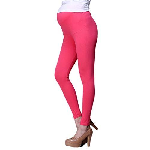 QinMMROPA Premamá Pantalones Largos Cintura Alta para Mujer Embarazada Pantalones Leggings Maternidad pantalón Leggins Rosa L