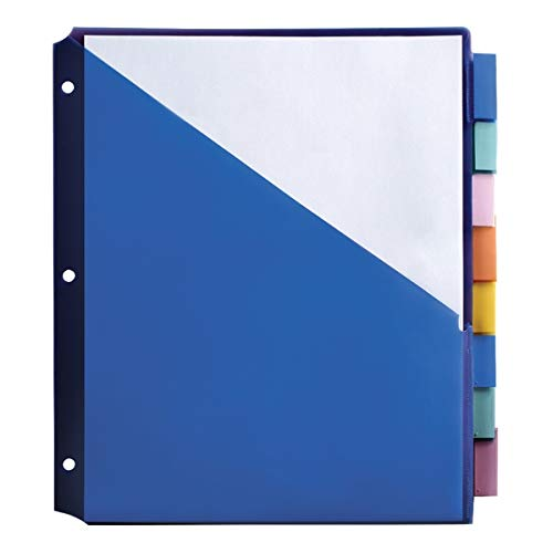 """Office Depot Brand Double-Pocket Insertable Plastic Divider, 8-Tab, 9"""" x 11"""", Assorted Colors"""
