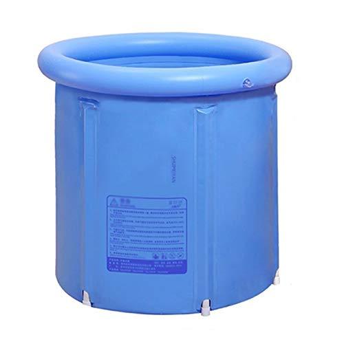 LCAIHUA-Portable Bañera Bañera Plegable Cubo De Baño Adulto Bañera Portátil Inflable Cilíndrico Drenajes Dobles con Cubierta Bañera, Consumo De Agua 200L (Color : Blue, Size : 75x75cm)