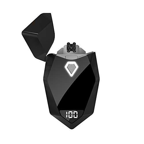 [WDMART] おしゃれ 電子ライター USBライター 充電ライター メタルライター プラズマ 放電式 電気 ライター 電気残量デジタル表示 おしゃれプレゼント 登山、キャンプ、防災に最適 (ブラック)